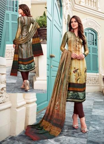 Casual Wear Printed Work Brown Satin Churidar Style