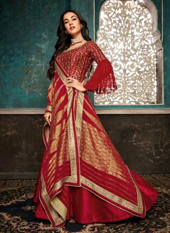 Pure Silk Red Embroidery Work Wedding Wear Anarkali Suit
