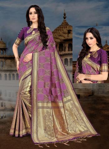 Purple Art Silk Party Wear Weaving Saree
