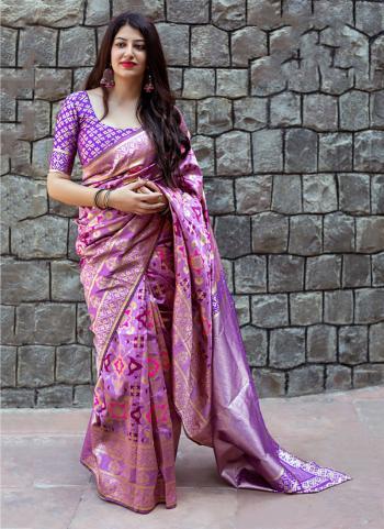 Purple Banarasi Silk Festival Wear Printed Work Saree
