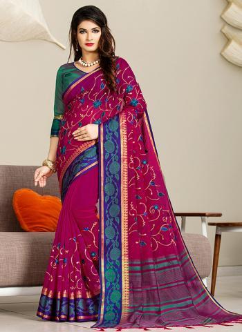 Purple Cotton Festival Wear Embroidery Work Saree