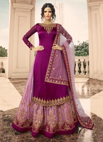 Purple Georgette Satin Reception Wear Embroidery Work Lehenga Suit
