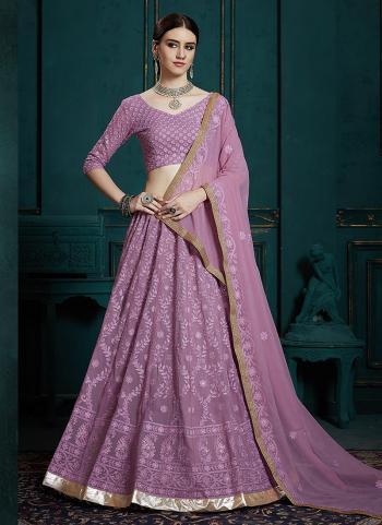 Purple Georgette Wedding Wear Thread Work Lehenga Choli