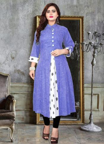 Purple Khadi Cotton Daily Wear Printed Work A Line Kurti