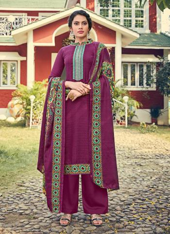 Purple Pashmina Regular Wear Embroidery Work Palazzo Suit