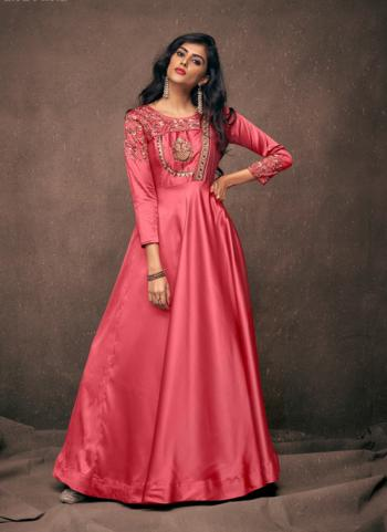 Purple Satin Silk Casual Wear Embroidery Work Gown