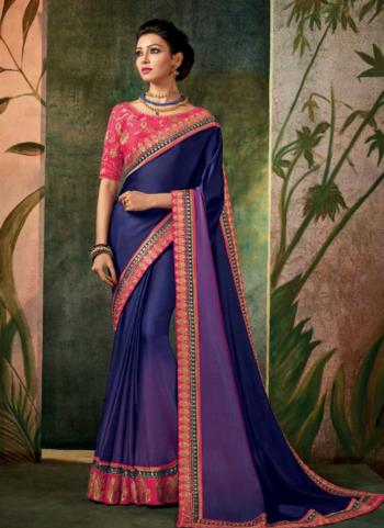 Purple Silk Festival Wear Border Work Saree