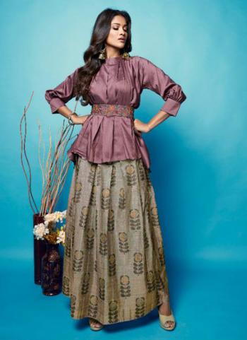 Purple Silk Party Wear Embroidery Work Top With Skirt