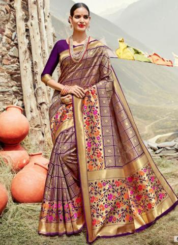 Purple Silk Party Wear Weaving Saree