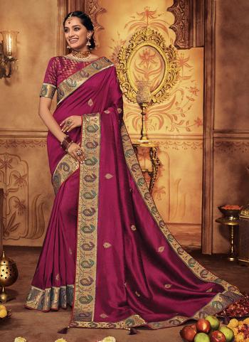 Purple Silk Wedding Wear Border Work Saree