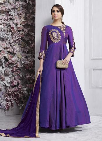 Purple Tapeta Silk Festival Wear Embroidery Work Anarkali Style