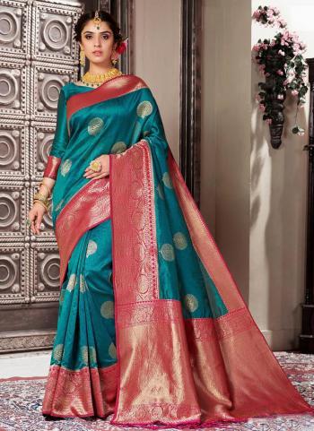 Rama Banarasi Silk Wedding Wear Border Work Saree