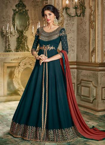 Rama Barfi Silk Georgette Reception Wear Embroidery Work Anarkali Suit