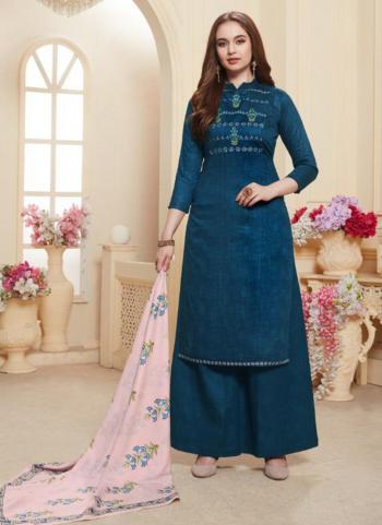 Rama Jam Satin Daily Wear Embroidery Work Palazzo Suit