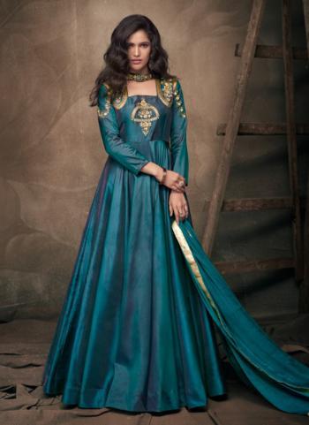 Rama Tapeta Silk Festival Wear Embroidery Work Gown