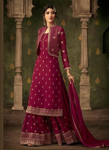 Rani Georgette Festival Wear Embroidery Work Sharara Suit