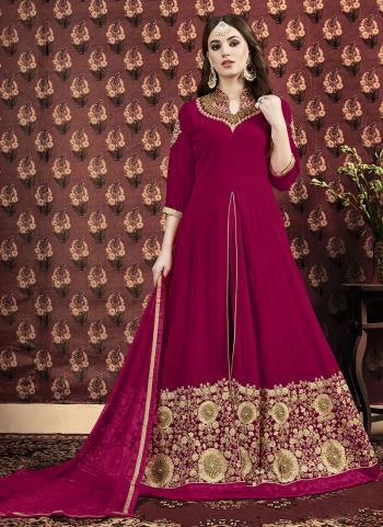 Abaya Style Rani Georgette Wedding Wear Embroidery Work Anarkali Suit