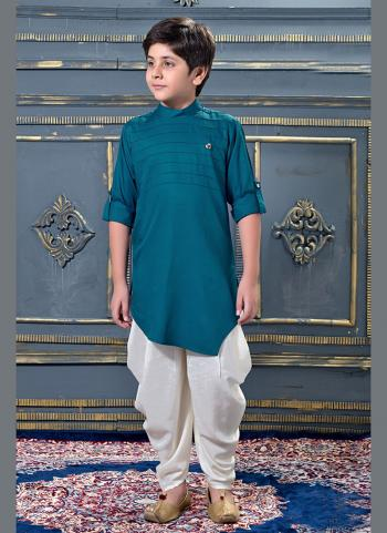 Rani Modal Satin Party Wear Pleats Work Kids Dhoti Kurta