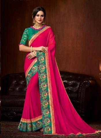 Rani Satin Silk Reception Wear Border Work Saree