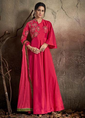Embroidery Work Tapeta Silk Rani Festival Wear Gown