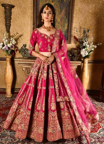 Rani Velvet Wedding Wear Resham Work Lehenga Suit