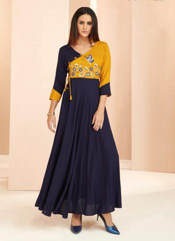 Rayon Casual Wear Navy Blue Embroidery Work A Line Kurti