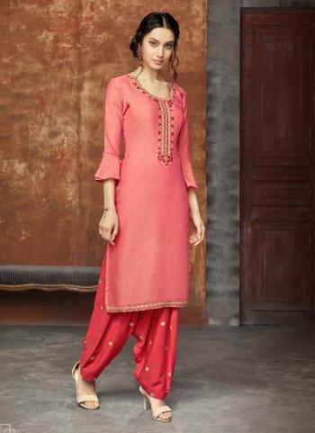 Rayon Gajri Casual Wear Embroidery Work Kurti With Patiala