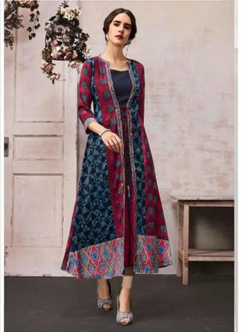 Rayon Navy Blue Casual Wear Printed Work Kurti With Shrug
