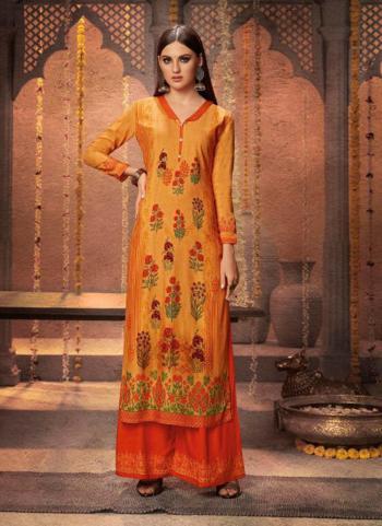 Rayon Orange Daily Wear Printed Work Kurti With Palazzo