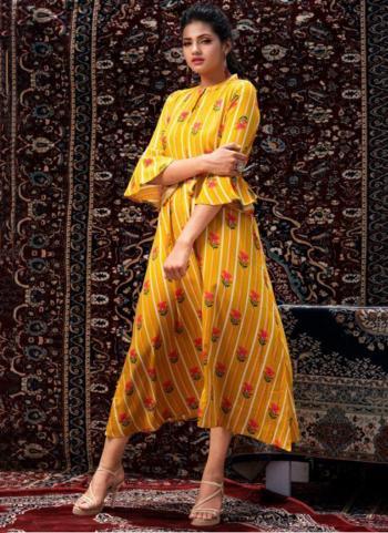 Rayon Yellow Casual Wear Printed Work Kurti