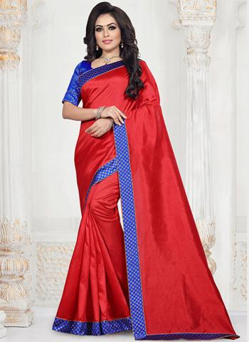 Red Art Silk Festival Wear Lace Work Saree