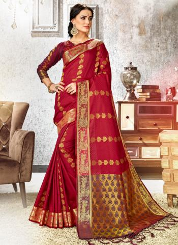 Red Art Silk Festival Wear Weaving Saree