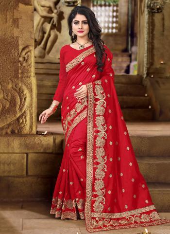 Red Art Silk Reception Wear Heavy Embroidery Work Saree