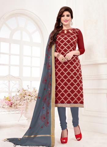 Red Banarasi Jacquard Daily Wear Fancy Work Churidar Suit