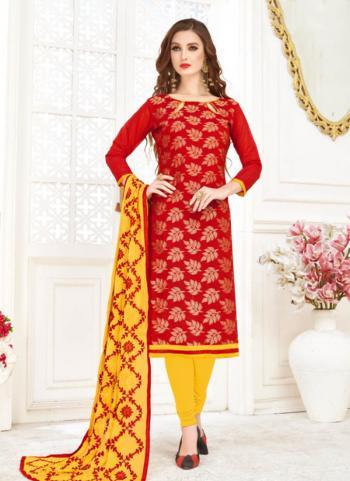 Red Banarasi Jacquard Daily Wear Foil Printed Work Churidar Suit