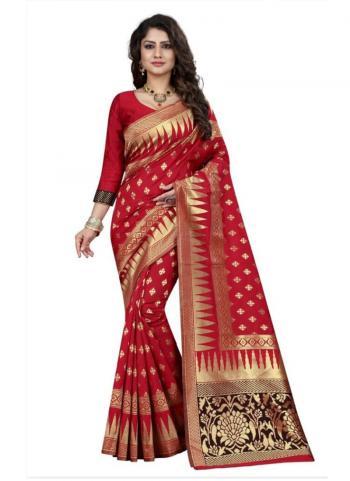 Red Banarasi Silk Party Wear Zari Work Saree