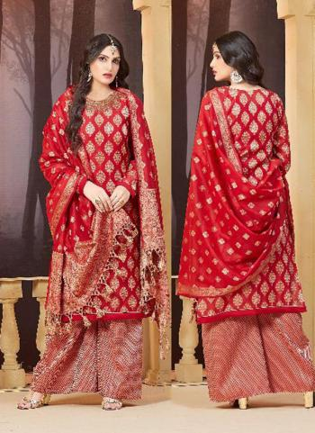 Red Banarasi Silk Wedding Wear Zari Work Palazzo Suit