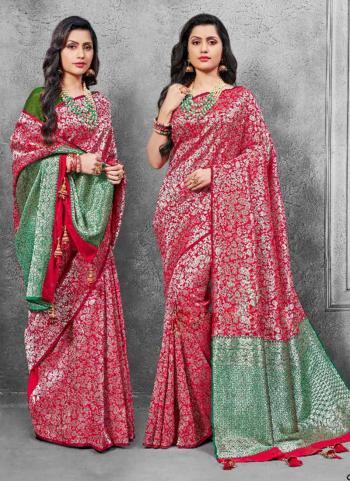 Red Banarasi Silk Wedding Wear Zari Work Saree