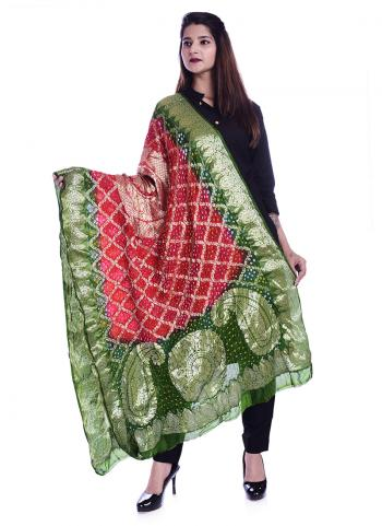 Green And Red Banarasi Wedding Wear Weaving Dupatta