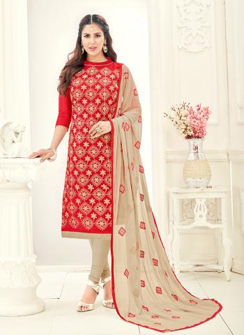 Red Chanderi Daily Wear Embroidery Work Churidar Style