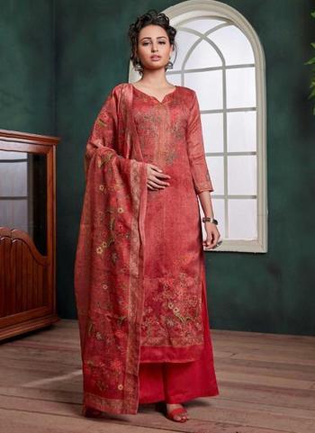 Red Chanderi Festival Wear Digital Printed Palazzo Salwar Suit