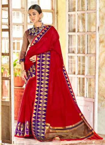 Red Chanderi Party Wear Border Work Saree