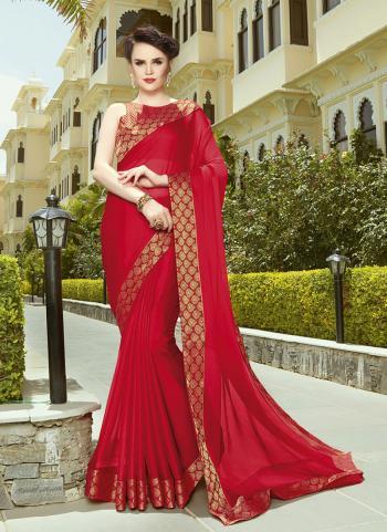 Red Chiffon Casual Wear Lace Work Saree