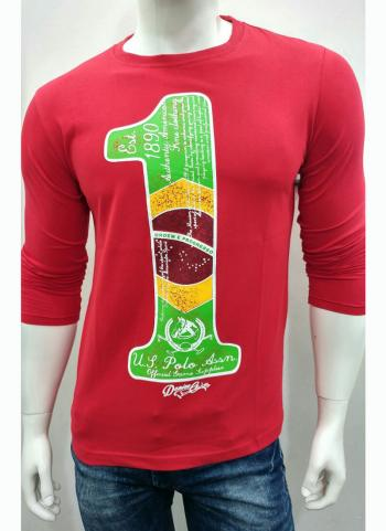 Red Casual Wear Cotton T-Shirts