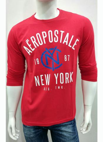 Red Cotton Casual Wear Plain Men's T-Shirts