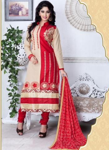 Red Cotton Daily Wear Printed Work Churidar Suit