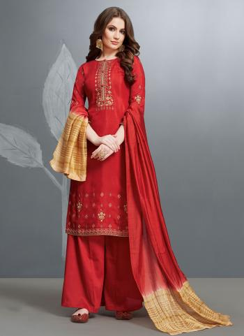Embroidery Work Red Cotton Festival Wear Palazzo Suit