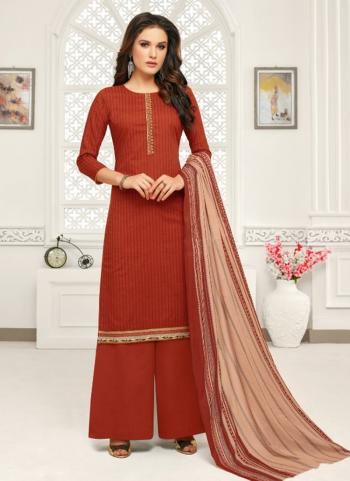Red Cotton Regular Wear Embroidery Work Palazzo Suit