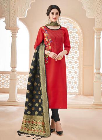 Red Cotton Slub Daily Wear Embroidery Work Churidar Suit