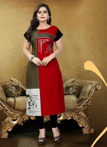 Lowest Prices Red Crepe Daily Wear Digital Print Kurti
